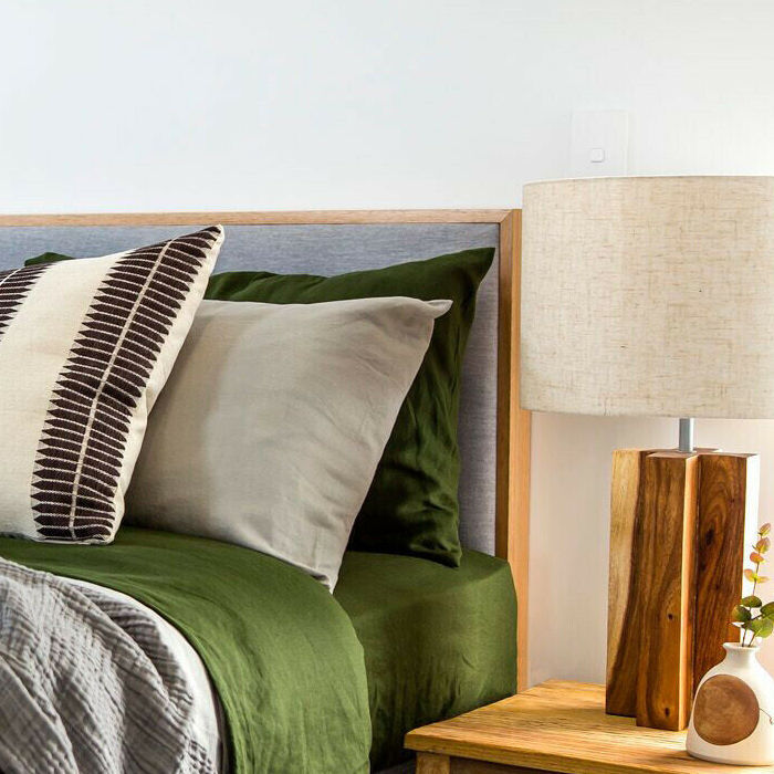 Oak Frame Low Upholstered Bedhead