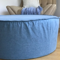 Round Washable French Seam Slipcover Ottoman - Large