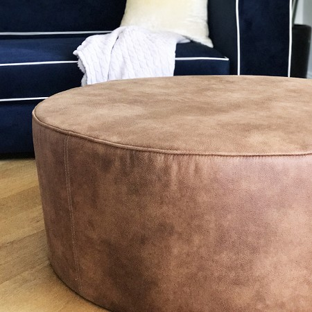 Eastwood Leather* Round Ottoman - Large
